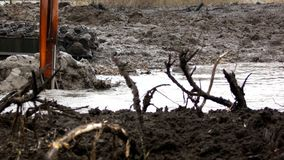挖掘机的宽桶发现从河的底部的土壤 清洗和加深渠道 影视素材