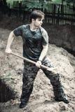 挖掘机的工作 免版税库存照片