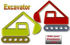 挖掘机的美好的例证有空间的商标和广告的 库存例证