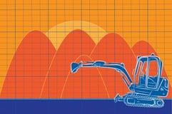 挖掘机线艺术绘画颜色建造场所 免版税图库摄影