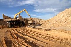 挖掘机装入程序设备 免版税库存照片