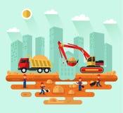 挖掘机装货沙子到卡车里 向量例证