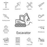 挖掘机象 简单的元素例证 挖掘机从建筑汇集集合的标志设计 能为网和暴民使用 皇族释放例证