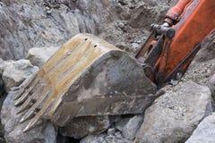 挖掘机` s铁锹 免版税库存照片