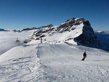 挡雪板在Titlis滑雪区域 免版税图库摄影