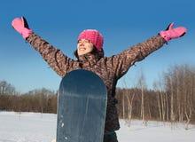 挡雪板炫耀冬天 库存图片