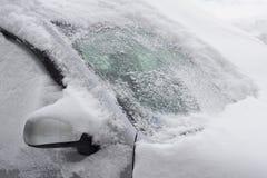 挡风玻璃在雪霜背景中 免版税库存照片