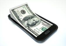 挣与电子商务的金钱使用智能手机 向量例证