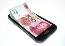 挣与电子商务的金钱使用智能手机 库存例证