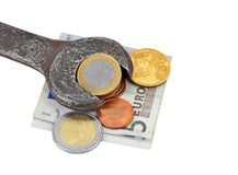 挣货币,获得为工作 免版税库存照片