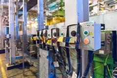 挤压机机器电子控制板  免版税库存照片