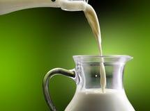 挤奶在一个玻璃瓶涌入玻璃水瓶 免版税图库摄影