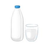 挤奶在一个白色塑料瓶和玻璃烧杯 库存图片