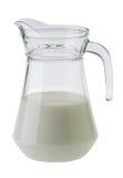 挤奶在白色背景和玻璃隔绝的水罐 库存图片