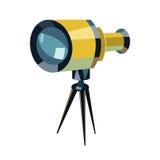 挤撞平的象、教育和天文元素、小望远镜和研究星向量图形,在丝毫的一个五颜六色的坚实样式 库存照片