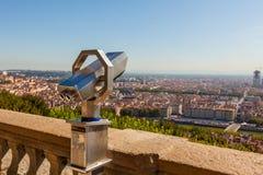 挤撞从上面俯视利昂的,法国,都市风景 库存图片