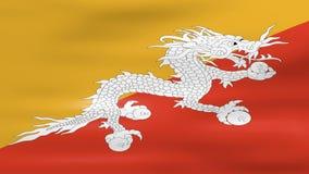 挥动不丹旗子,为无缝的圈准备 库存例证