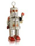 挥动与反射的银色机器人被隔绝 库存照片