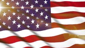 挥动与太阳光线新的质量独特赋予生命的动态行动快乐五颜六色凉快的美国美国旗子粗砺的织品 皇族释放例证