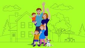 挥动与房子的幸福家庭在背景中 向量例证