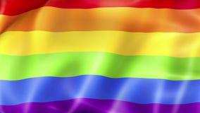 挥动五颜六色同性恋自豪日彩虹旗子,民权旗子无缝使成环 皇族释放例证