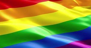 挥动五颜六色同性恋自豪日彩虹旗子,民权旗子无缝的使成环的3D翻译 皇族释放例证