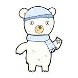 挥动北极熊的可笑的动画片 库存照片