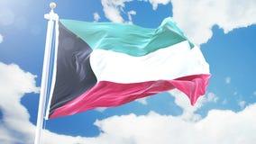 挥动反对定期流逝的科威特的现实旗子覆盖背景 在4K决议的无缝的圈与详细 股票视频