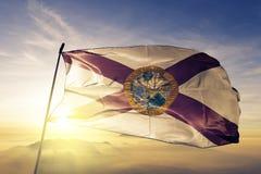 挥动在上面的美利坚合众国旗子纺织品布料织品的佛罗里达状态 皇族释放例证