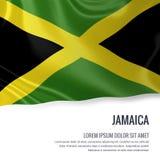 挥动在与白色正文的被隔绝的白色背景的牙买加的柔滑的旗子您的广告消息的 皇族释放例证