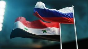 挥动在风的两面旗子 国际关系概念 俄罗斯叙利亚 3d例证 向量例证