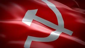 挥动在风的共产主义旗子特写镜头1080p充分的HD 1920X1080英尺长度录影 全国3d共产主义沙文主义情绪 苏维埃的标志单 库存例证