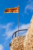 挥动在风的卡塔龙尼亚的旗子 免版税图库摄影