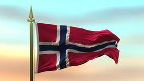挥动在风的挪威的国旗反对日落天空背景慢动作无缝的圈 库存例证