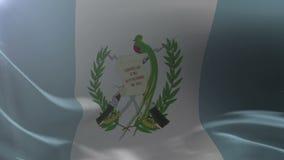 挥动在风的旗杆,自由的国家标志的危地马拉的旗子 向量例证