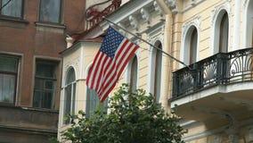 挥动在风的美利坚合众国的旗子 影视素材