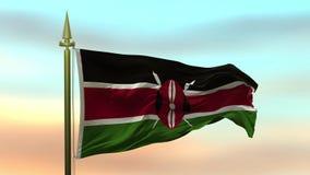 挥动在风的肯尼亚的国旗反对日落天空背景慢动作无缝的圈 股票录像