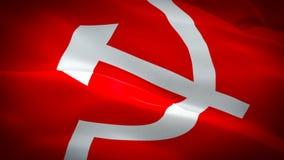 挥动在风的苏联旗子CCCP录影 现实共产主义旗子背景 苏联旗子使成环的特写镜头1080p充分的HD 1920年 向量例证