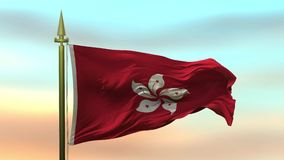 挥动在风的香港国旗反对日落天空背景慢动作无缝的圈 库存例证