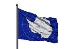 挥动在风,被隔绝的白色背景的南极洲的旗子 皇族释放例证