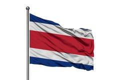 挥动在风,被隔绝的白色背景的哥斯达黎加的旗子 哥斯达黎加的旗子 向量例证
