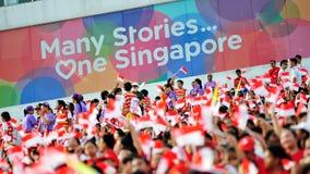 挥动新加坡旗子的观众在国庆节游行(NDP)排练期间2013年 库存图片