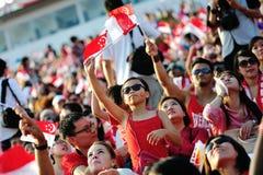 挥动新加坡标志的听众在NDP期间 库存图片