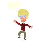 挥动有讲话泡影的动画片凉快的人图片