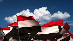 挥动的也门旗子 向量例证