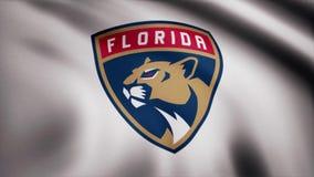 挥动的旗子特写镜头与佛罗里达豹NHL曲棍球队商标,无缝的圈的 社论动画 向量例证