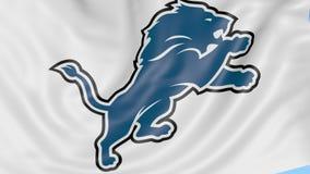 挥动的旗子特写镜头与底特律狮子美国橄榄球联盟橄榄球队商标,无缝的圈,蓝色背景的 社论 皇族释放例证