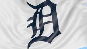 挥动的旗子特写镜头与底特律老虎MLB棒球队商标,无缝的圈,蓝色背景的 社论动画 库存例证