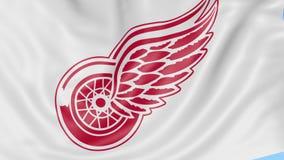 挥动的旗子特写镜头与底特律Red Wings NHL曲棍球队商标,无缝的圈,蓝色背景的 社论动画 向量例证