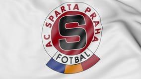 挥动的旗子特写镜头与斯巴达布拉格橄榄球俱乐部商标, 3D的翻译 向量例证